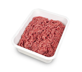 minced meat in plastic box