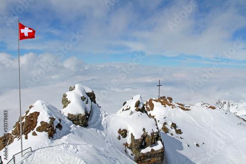 Schweizerfahne im Gebirge