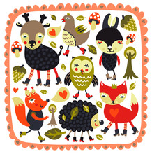 Mignon avec les animaux des bois et les oiseaux