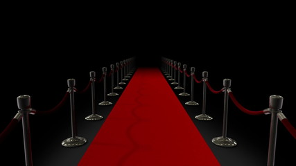Red Carpet & Velvet Ropes Loop on Black Backdrop
