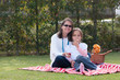 Pretty Mother And Girl Having Picnic In Park