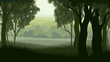 Horizontal illustration within greenwood forest.