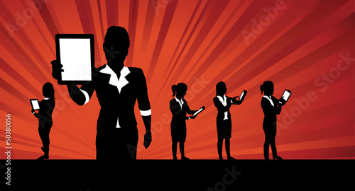 business women tablet background
