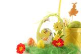 jaja wielkanocne w koszyku na białym tle, ząjączek i kurczaczek
