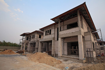 Luxury houses under construction