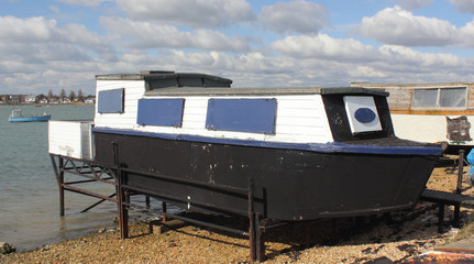 A houseboat in portsmouth harbour in england