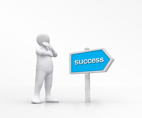 White figure choosing the road to success