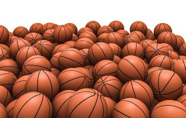 Basketballs pile