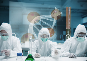 Scientists working in the lab with futuristic interface