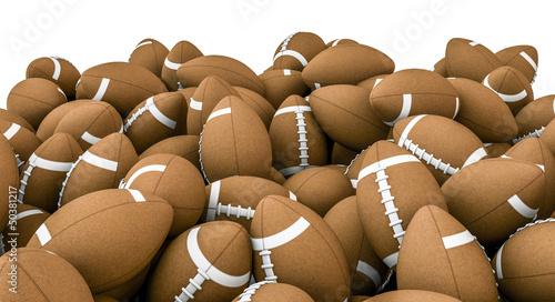 American footballs pile