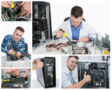 Collage of computer technician at work