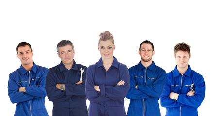 Mechanics in boiler suits portrait