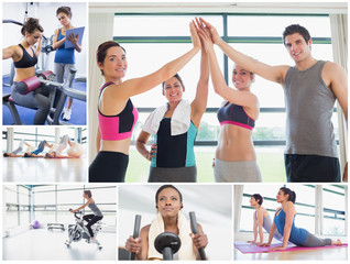 Collage of happy people at the gym