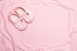 Pink blanket and baby slippers