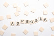 Asperger spelled out in letter pieces