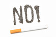 No with exclamation mark spelled out in ash with a joint with a