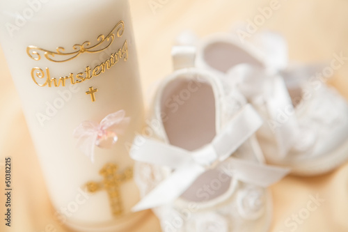 Baptism candle and baby booties - 50382215