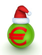 Green sphere with red symbol of euro.