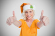 Girl in orange t-shirt giving thumbs up