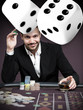 Handsome gambler with digital dice