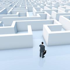 Businessmann vor einem Labyrinth - Illustration