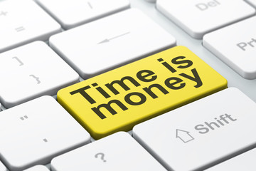 Time concept: Time is Money on computer keyboard