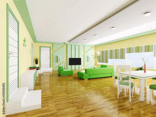Interior of modern apartment 3d