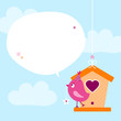 Pink Bird Flower Speech Bubble Sky