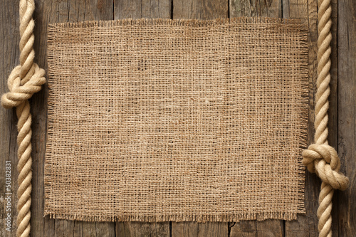 Old vinatage rope and planks background abstract concept