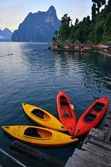 Kayak on Cheo Lan lake. Khao Sok National Park. Thailand.
