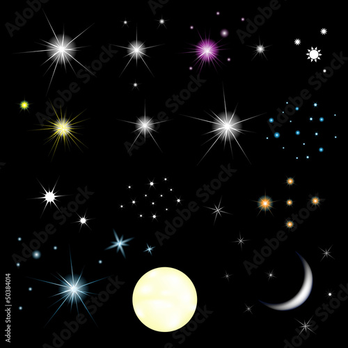 Set Of Stars And Moon