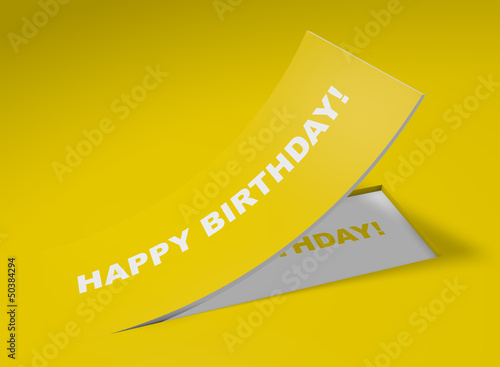 3D Etikett Gelb - Happy Birthday!
