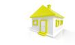 3D Haus Gelb Weiß