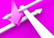 Pfeilkonzept Vier Richtungen - Pink Weiß