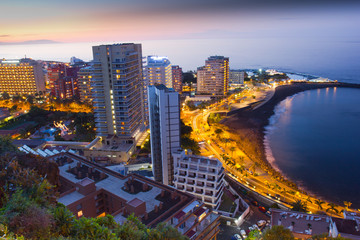Beaches and hotels of Puerto de la Cruz at sunset, Tenerife