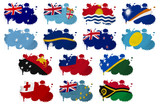 Oceania countries flag blots