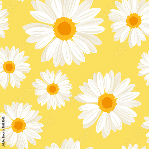 Seamless background with daisy flowers on yellow. Vector.