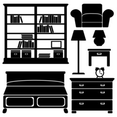 Furniture icons, bedroom set
