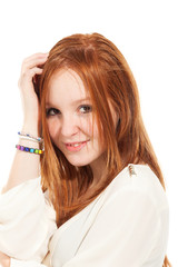 portrait of beautiful redheaded girl,