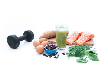 Protein foods and dumbell