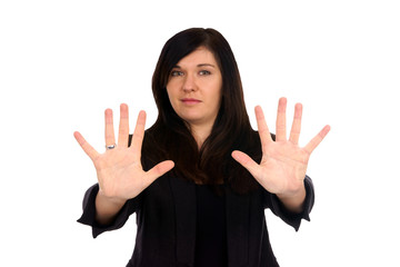 Woman holds up her hands
