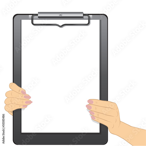 Hands holding a blank clipboard isolated on white background