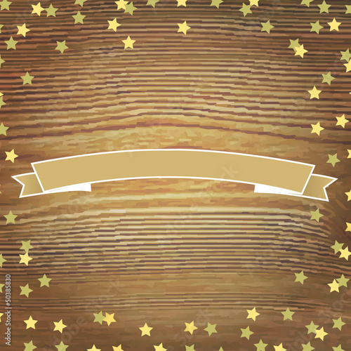Wooden Background With Gold Stars And Banner Ribbon