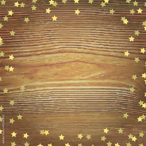 Wooden Background With Gold Stars