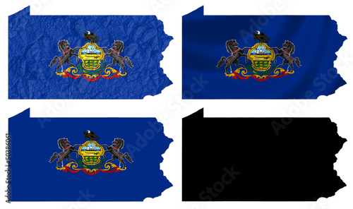 US Pennsylvania state flag over map collage