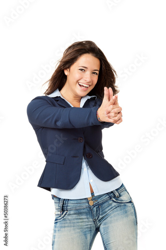 portrait of girl, isolated on white background