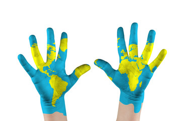 Map painted childs on hands. Concept save the world