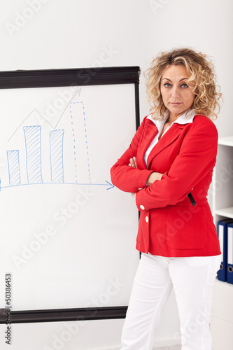 Woman in business outfit making a presentation