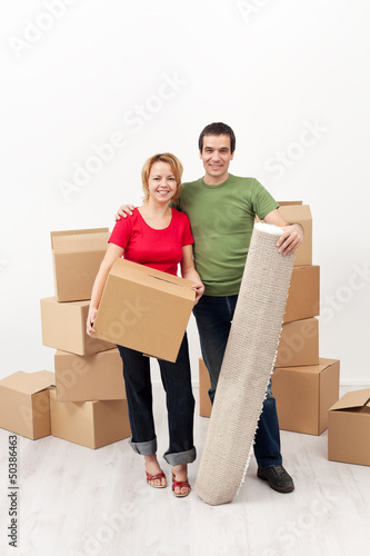 Happy couple moving together