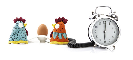 Chicken and egg alarm clock wake up concept